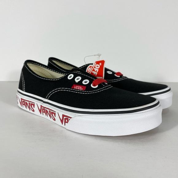 Vans Authentic Sketch Sidewall Black Red Sneakers